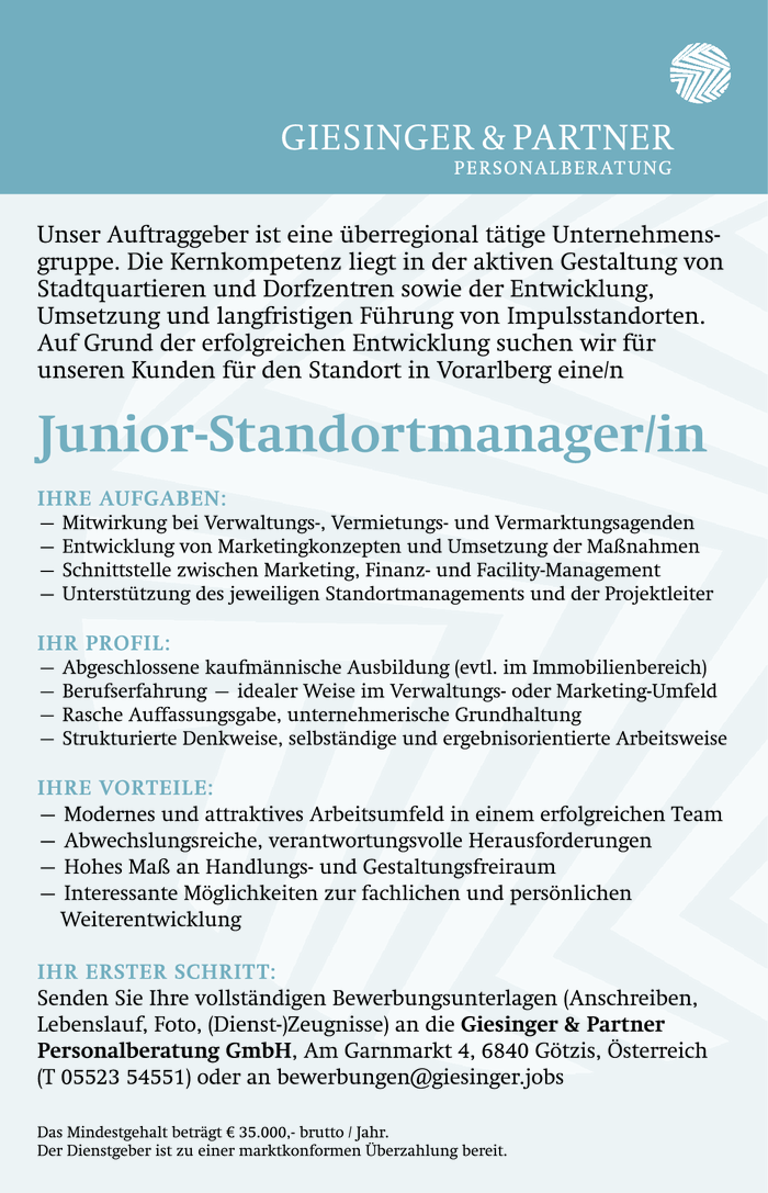 Junior-Standortmanager/in