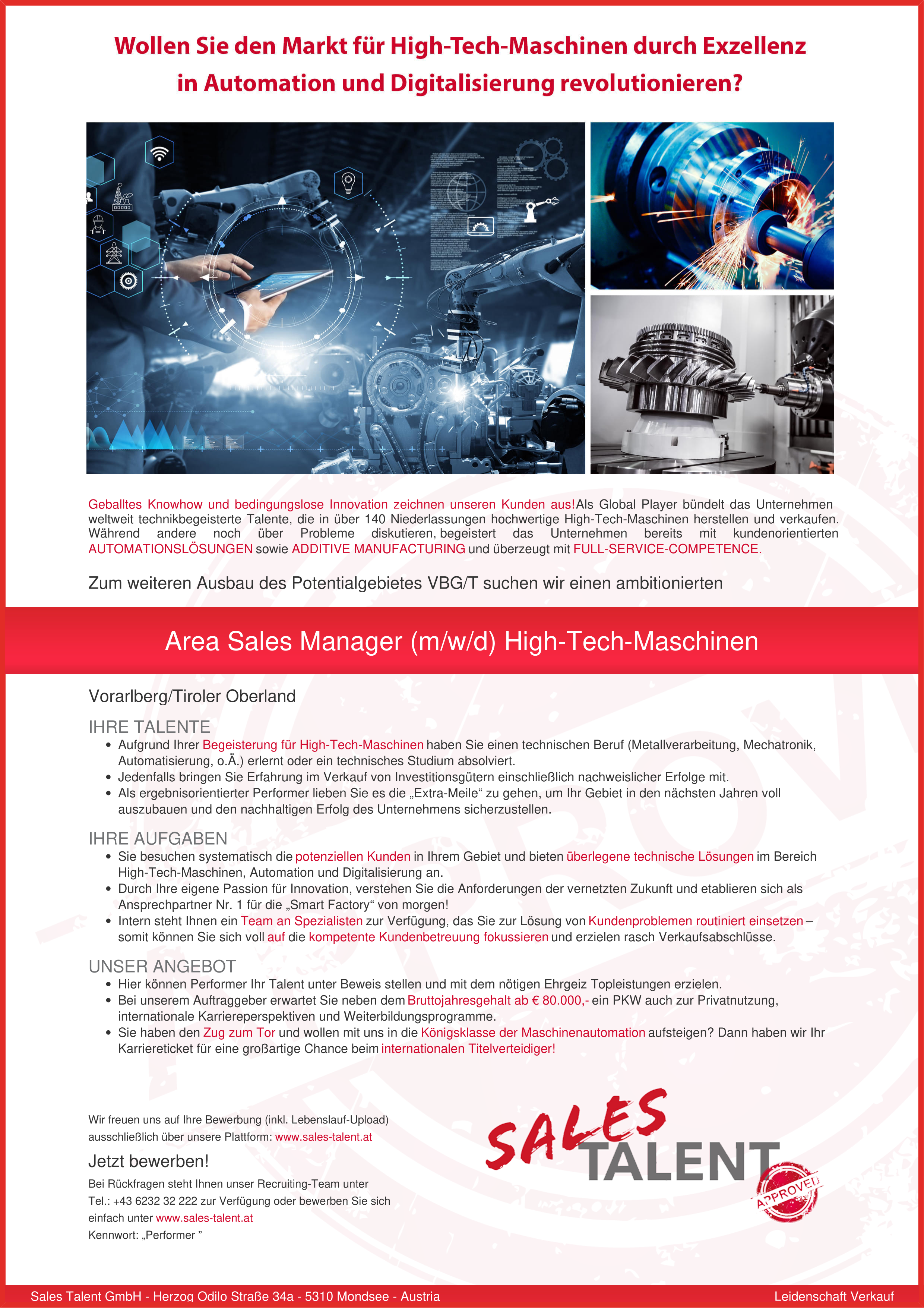 Area Sales Manager (m/w/d) High-Tech-Maschinen
