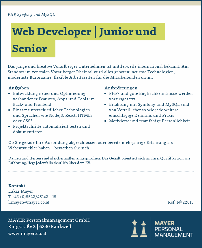 Web Developer | Junior und Senior