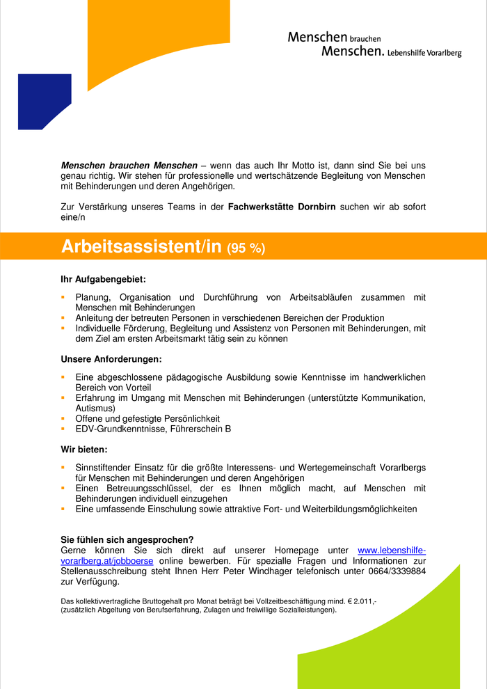 Arbeitsassistent/in