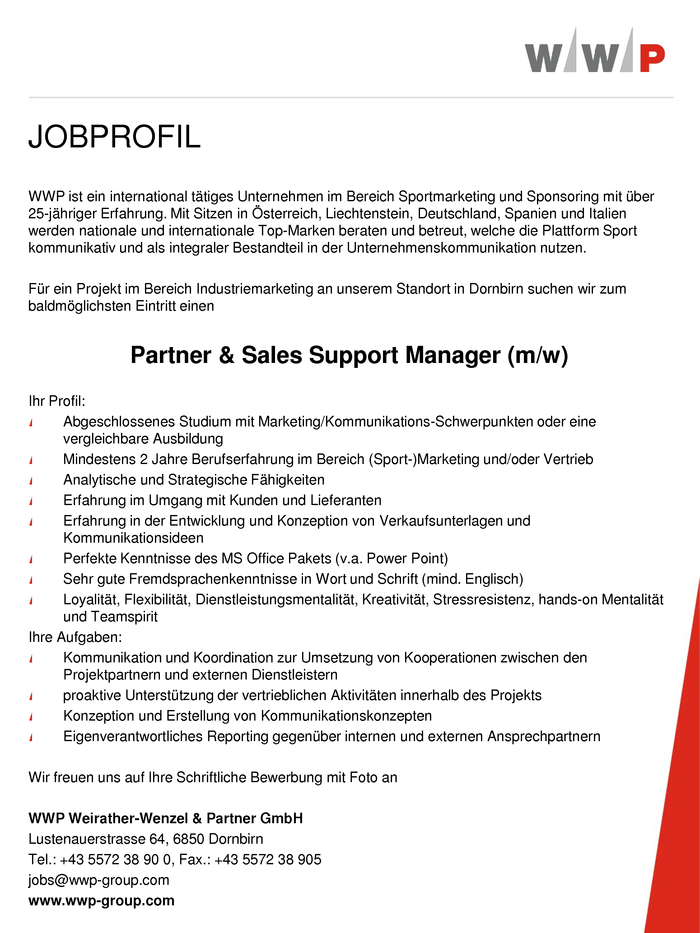 Partner & Sales Support Manager (m/w)