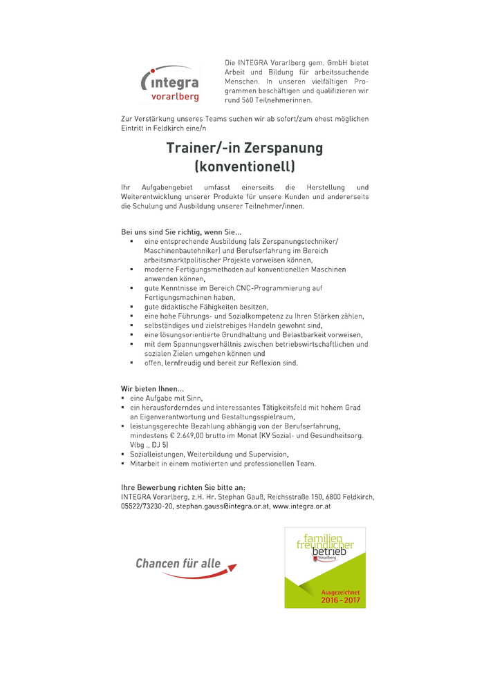 Trainer/-in Zerspanung (konventionell)