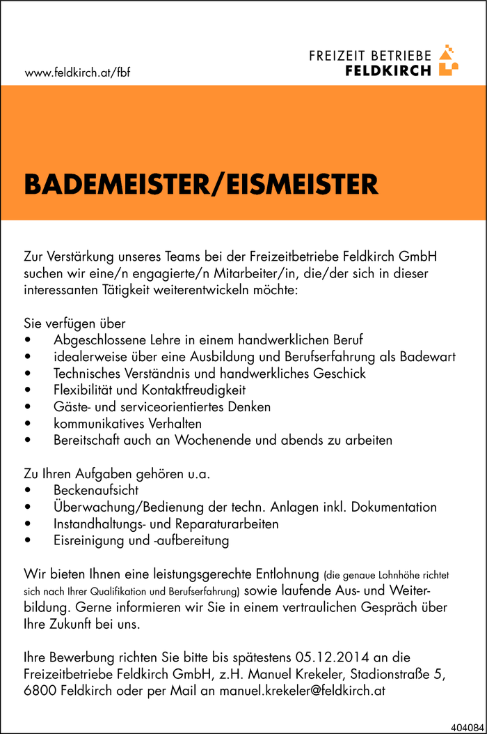 Bademeister/in / Eismeister/in
