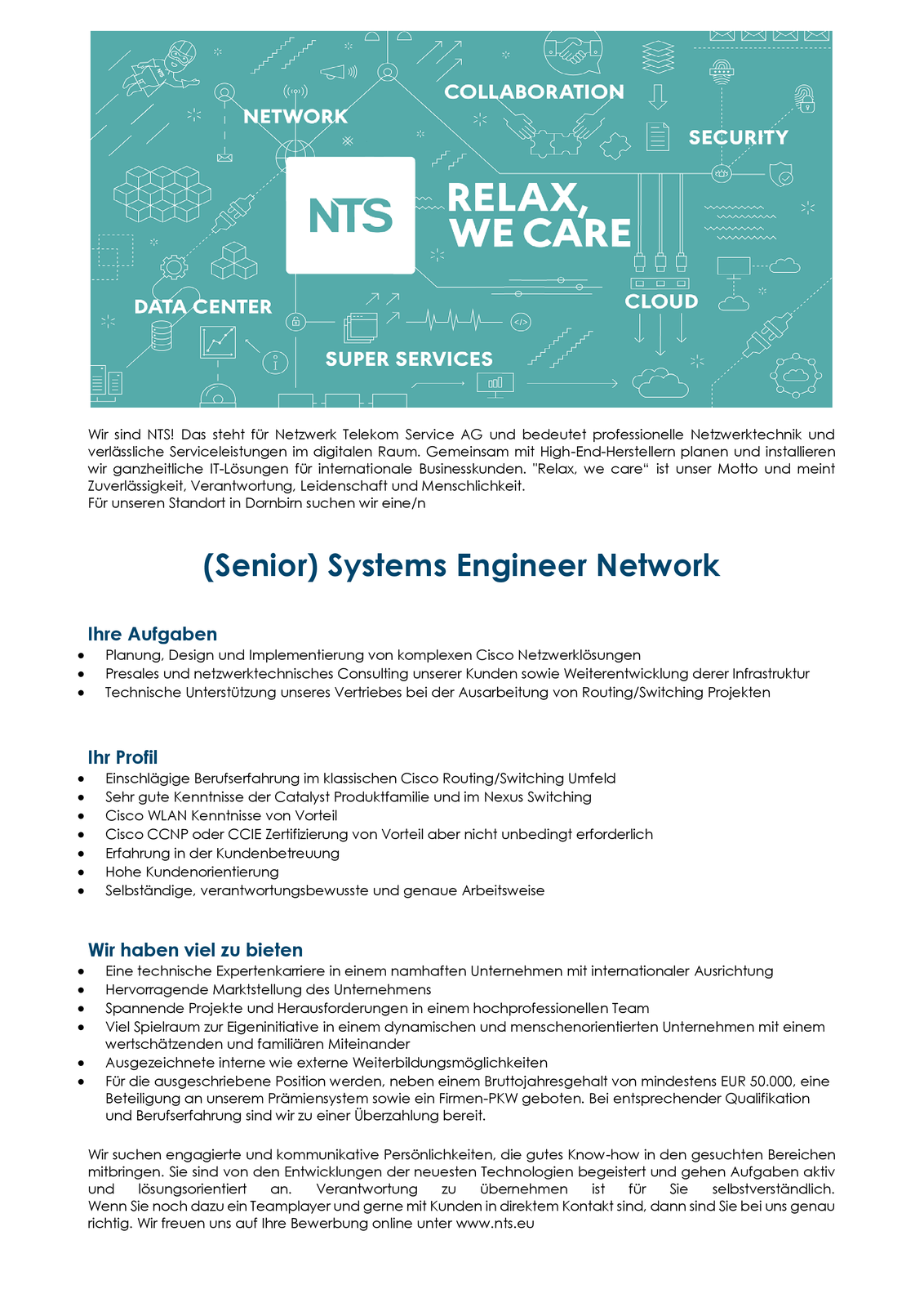 (Senior) Systems Engineer Network (m/w)