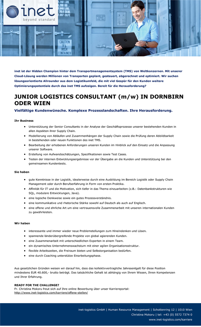 JUNIOR LOGISTICS CONSULTANT (m/w) IN DORNBIRN ODER WIEN