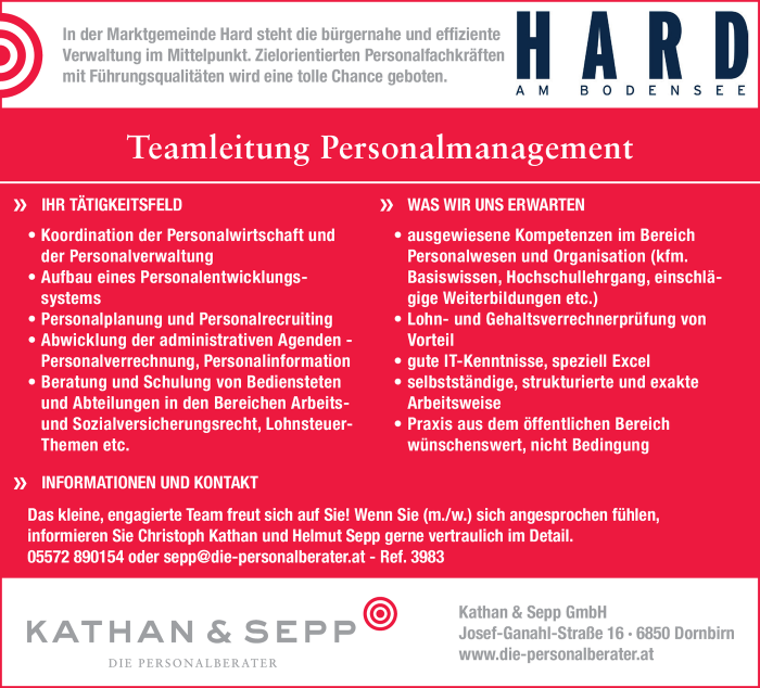 Teamleitung Personalmanagement (m/w)