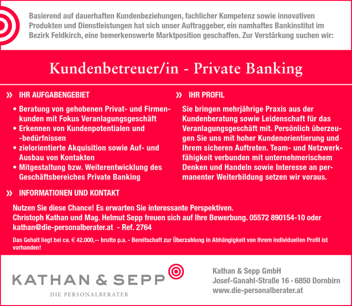 Kundenbetreuer/in - Private Banking