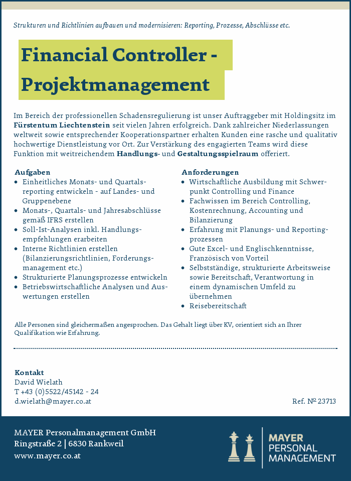 Financial Controller - Projektmanagement