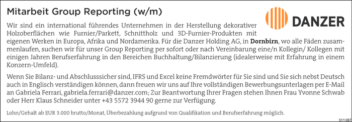 Mitarbeiter/in Group Reporting