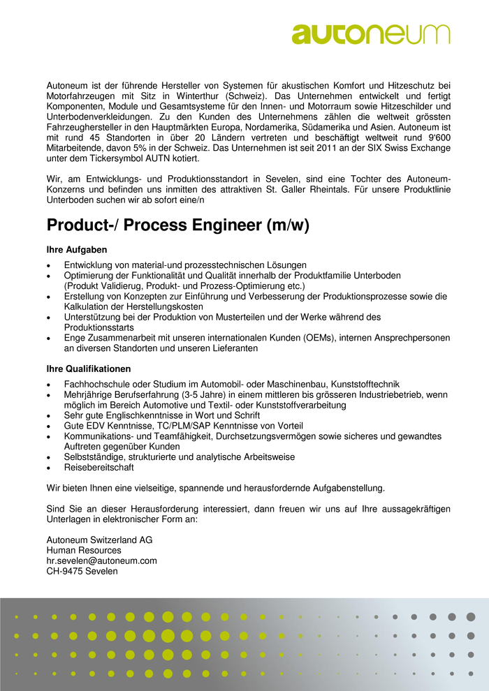 Product-/ Process Engineer (m/w)