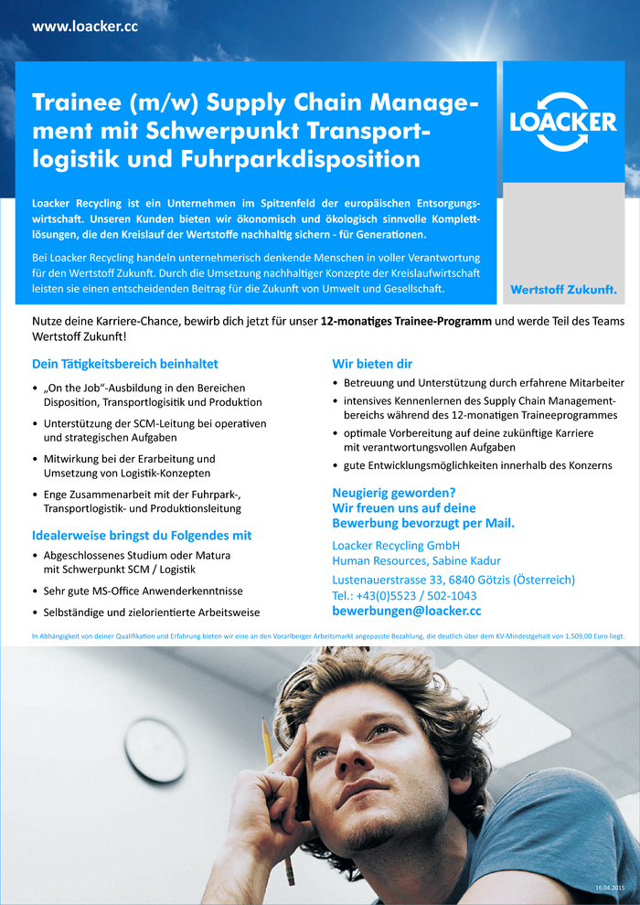 Trainee (m/w) Logistik/Disposition