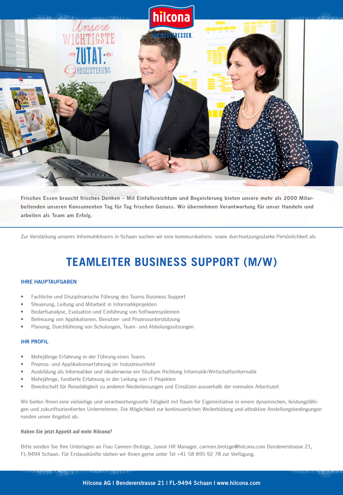 Teamleiter Business Support (m/w)