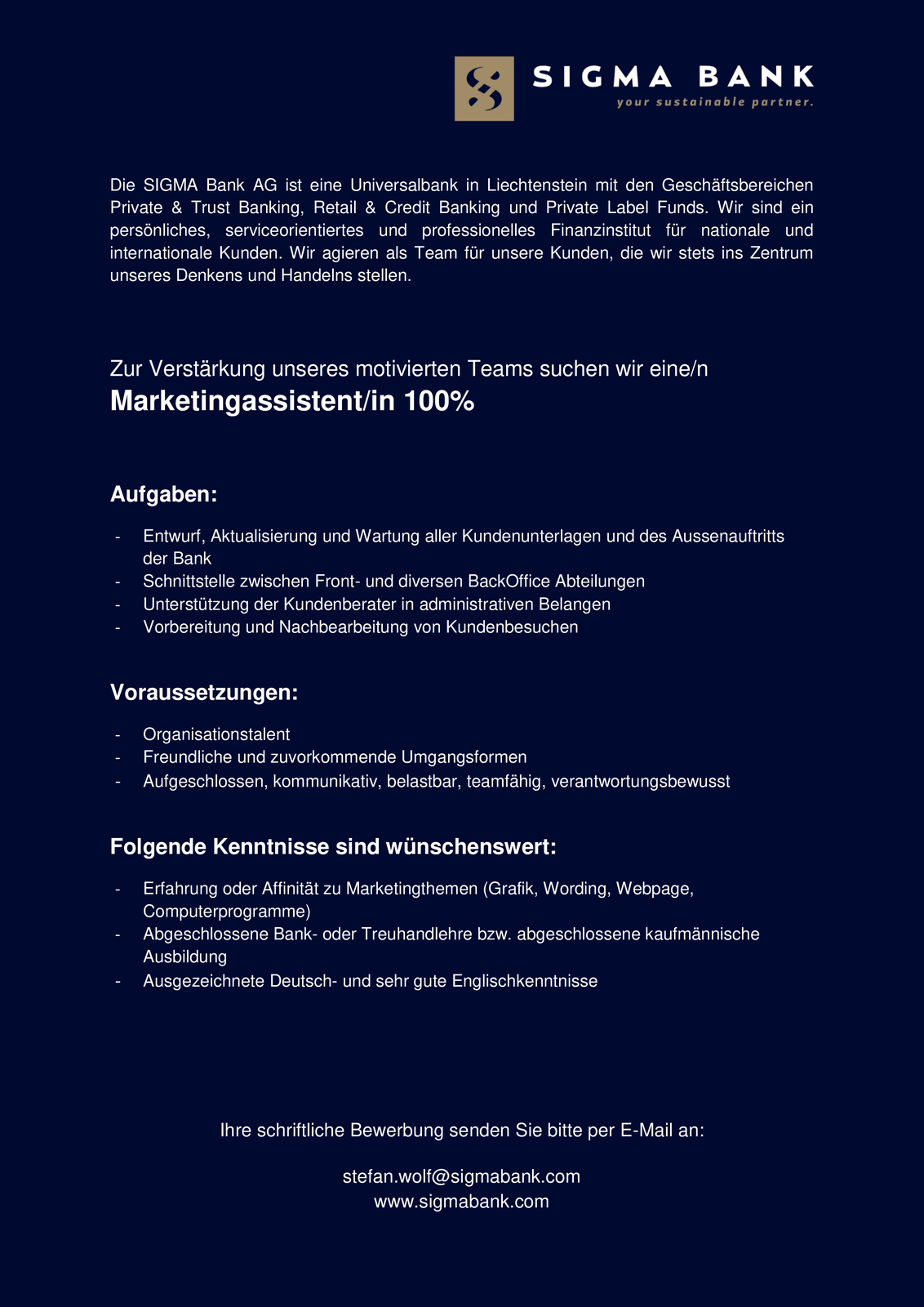 Marketingassistent/in 100%