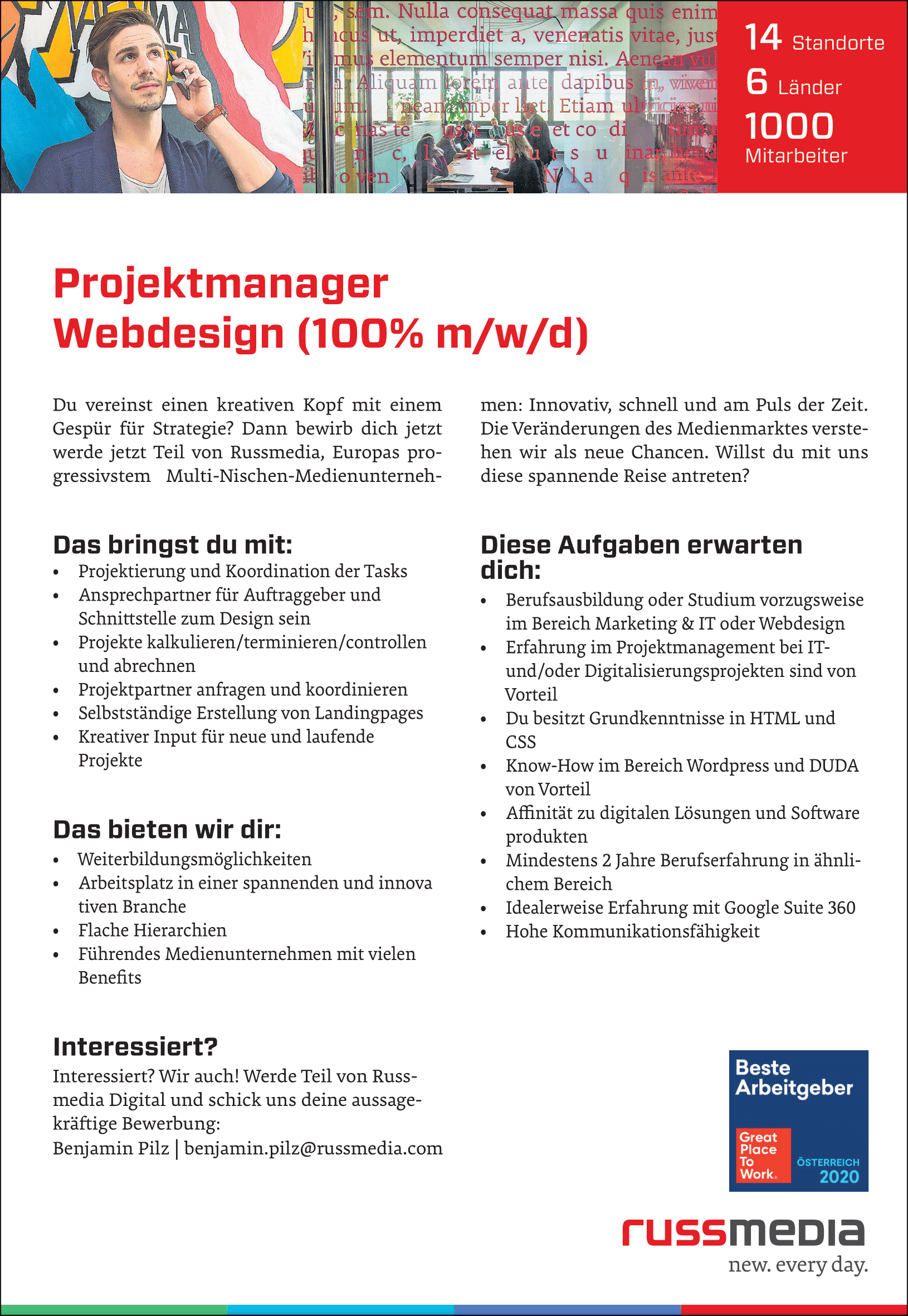 Projektmanager Webdesign (100% m/w/d)