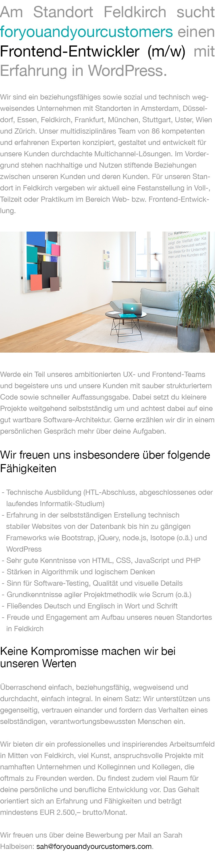 web entwickler frontend wordpress feldkirch jobs in