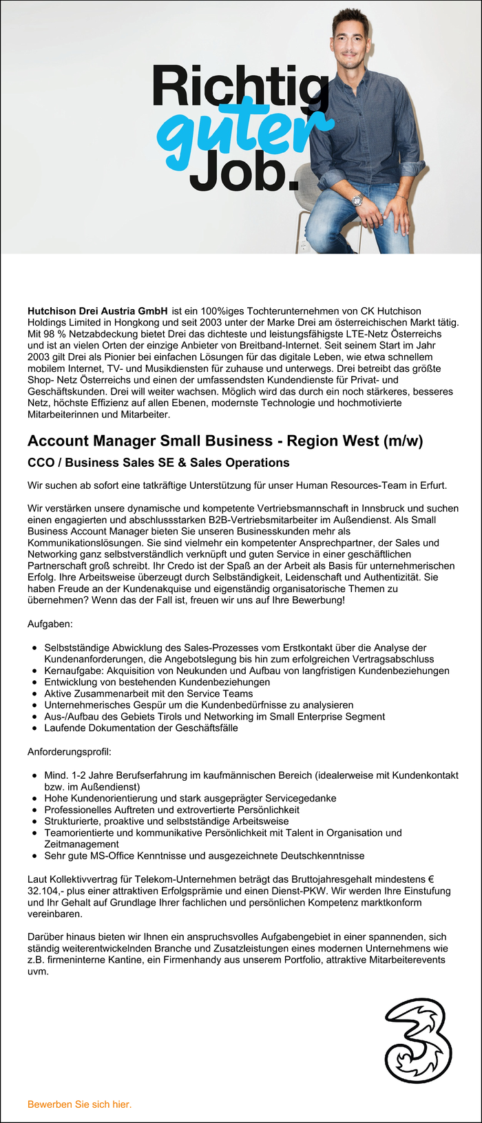 Account Manager Small Business - Region West (m/w) CCO / Business Sales SE & Sales Operations