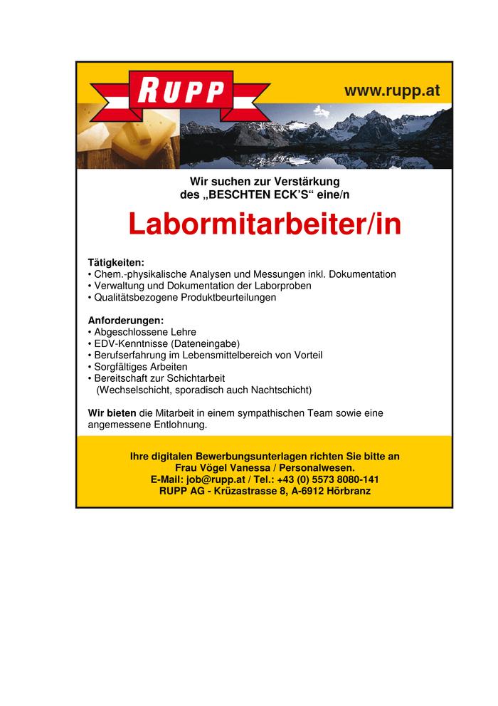 Laborantin 6912 h rbranz jobs in vorarlberg for Koch gehalt netto