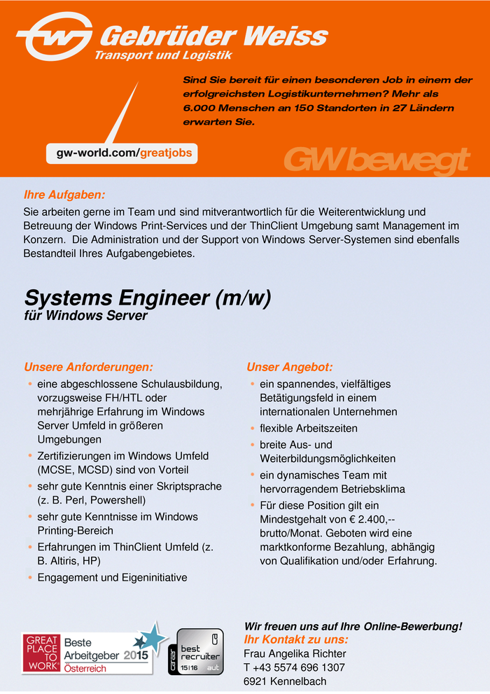Systems Engineer (m/w) für Windows Server