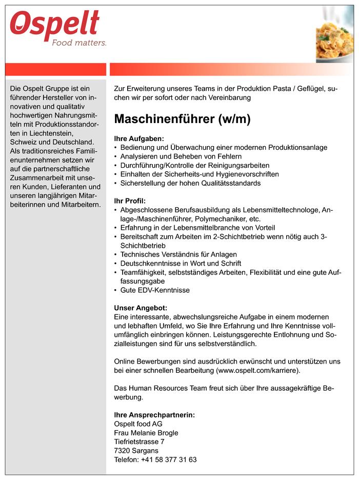 maschinenfhrer - Bewerbung Als Maschinenfhrer