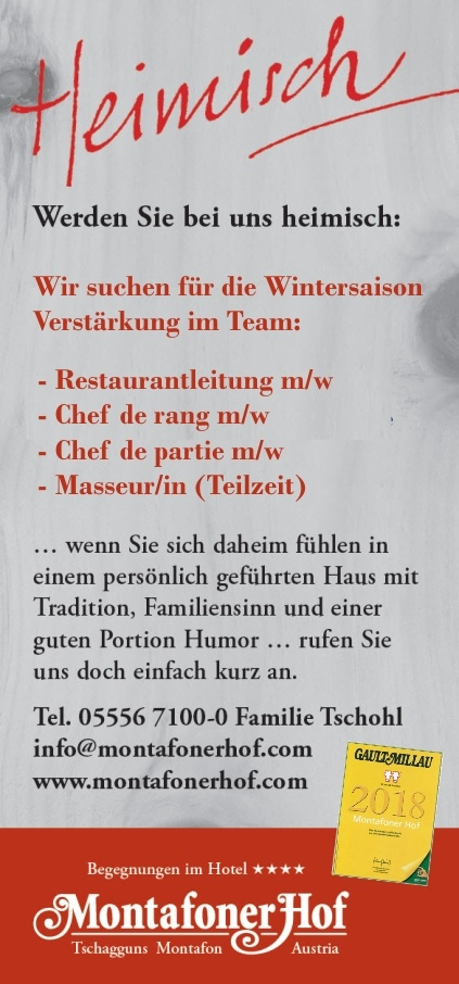Restaurantleitung, Chef de rang, Chef de partie, Masseur/in