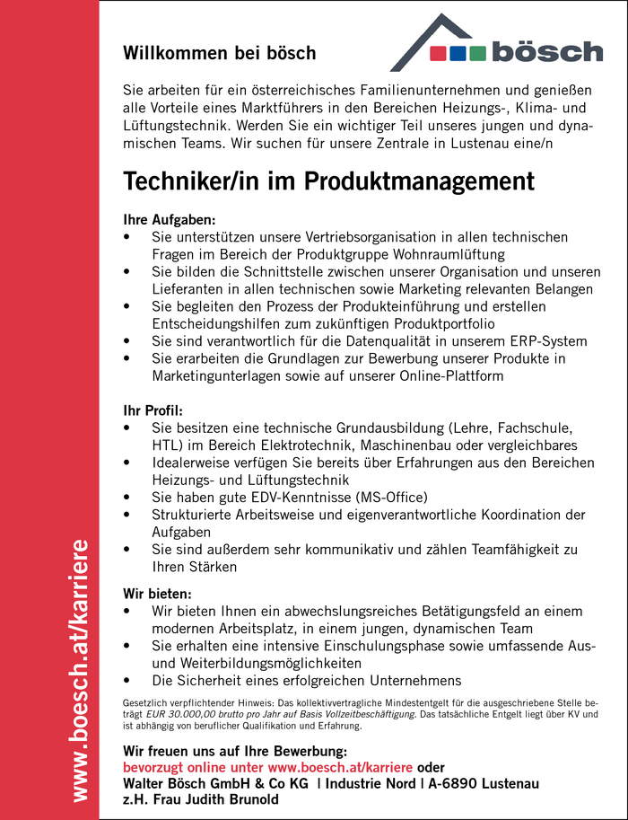 Techniker/in im Produktmanagement