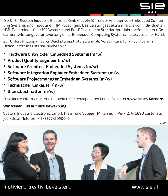 Hardware Entwickler/in, Product Quality Engineer, Software Architect, Software Integration, Software Projectmanager/in, Bilanzbuchhalter/in