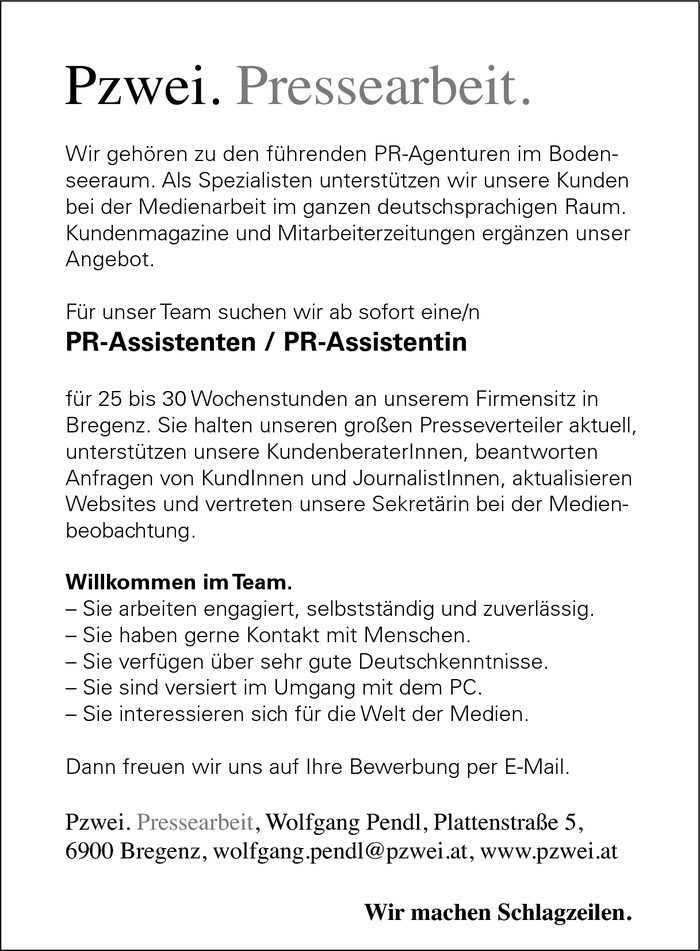 PR-Assistent/in