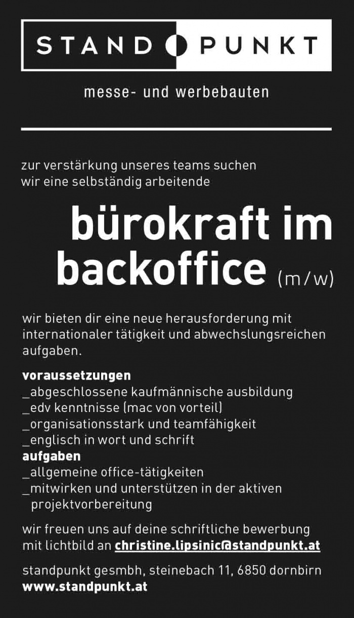 Bürokraft im Backoffice