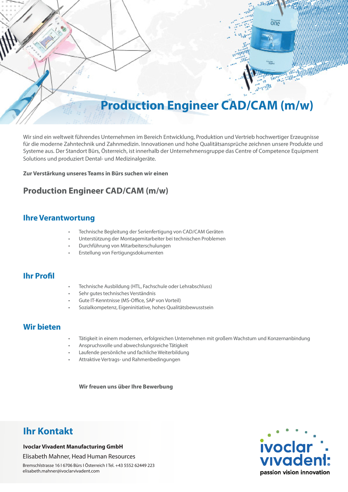 PRODUCTION ENGINEER CAD/CAM (m/w)