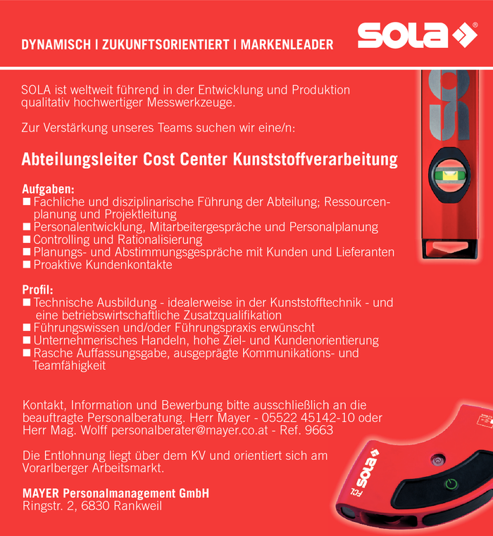Abteilungsleiter/in Cost Center