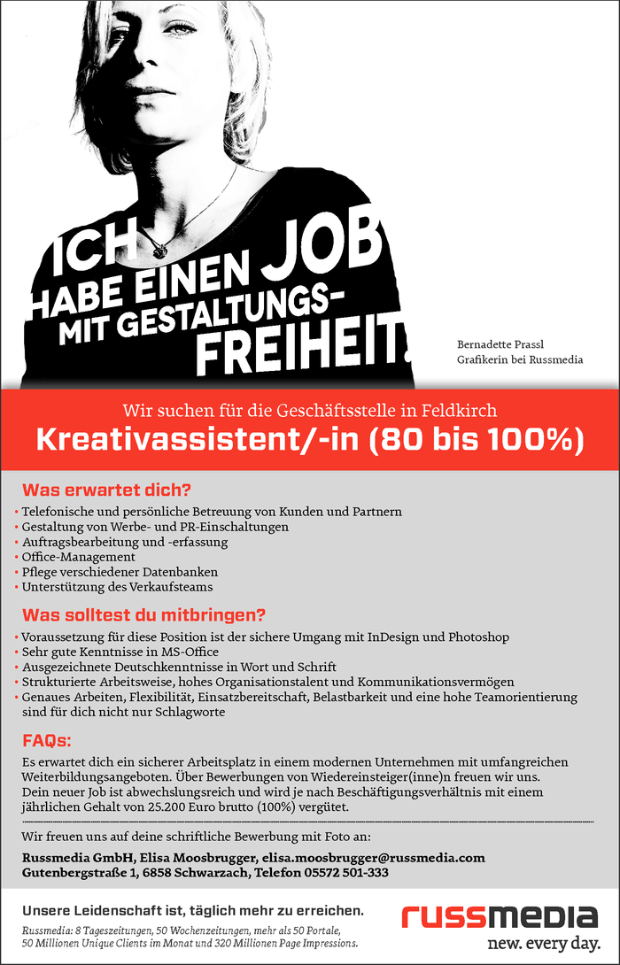 Kreativassistent/-in (80 bis 100%)