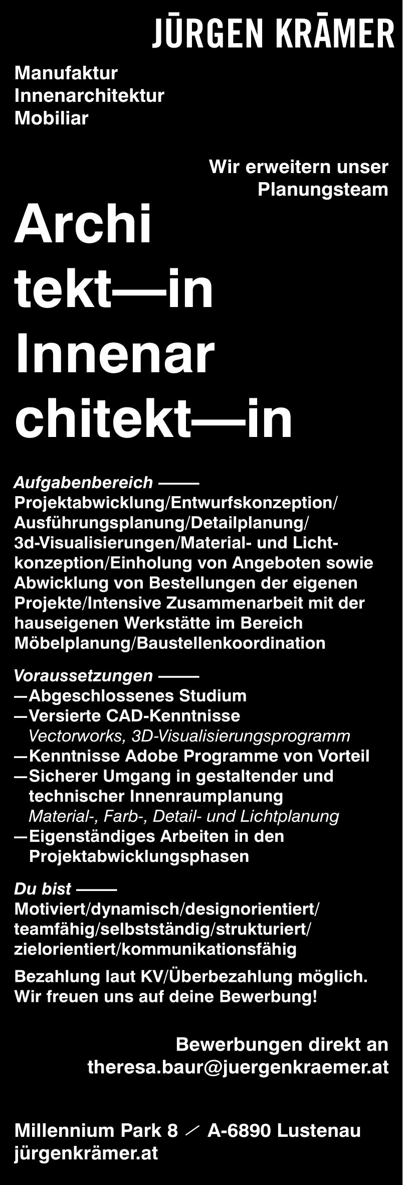 Architekt/in & Innenarchitekt/in