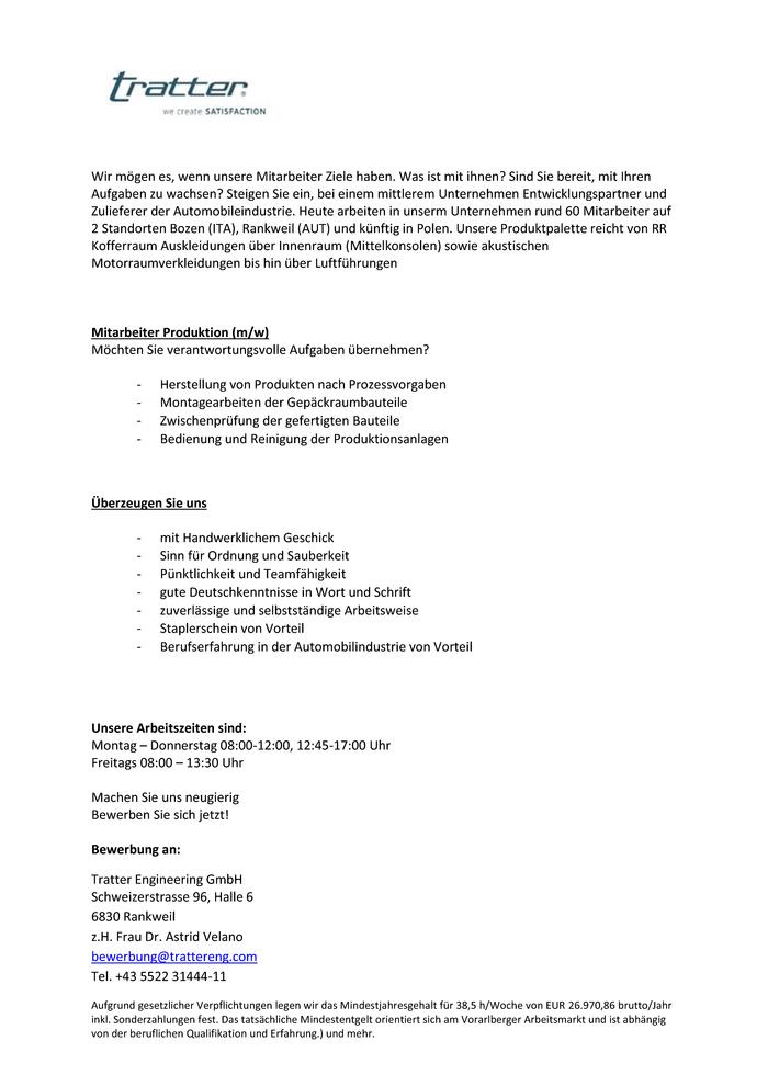 Produktionsmitarbeiter m/w - Feldkirch (Oberes Rheintal) - Jobs in ...