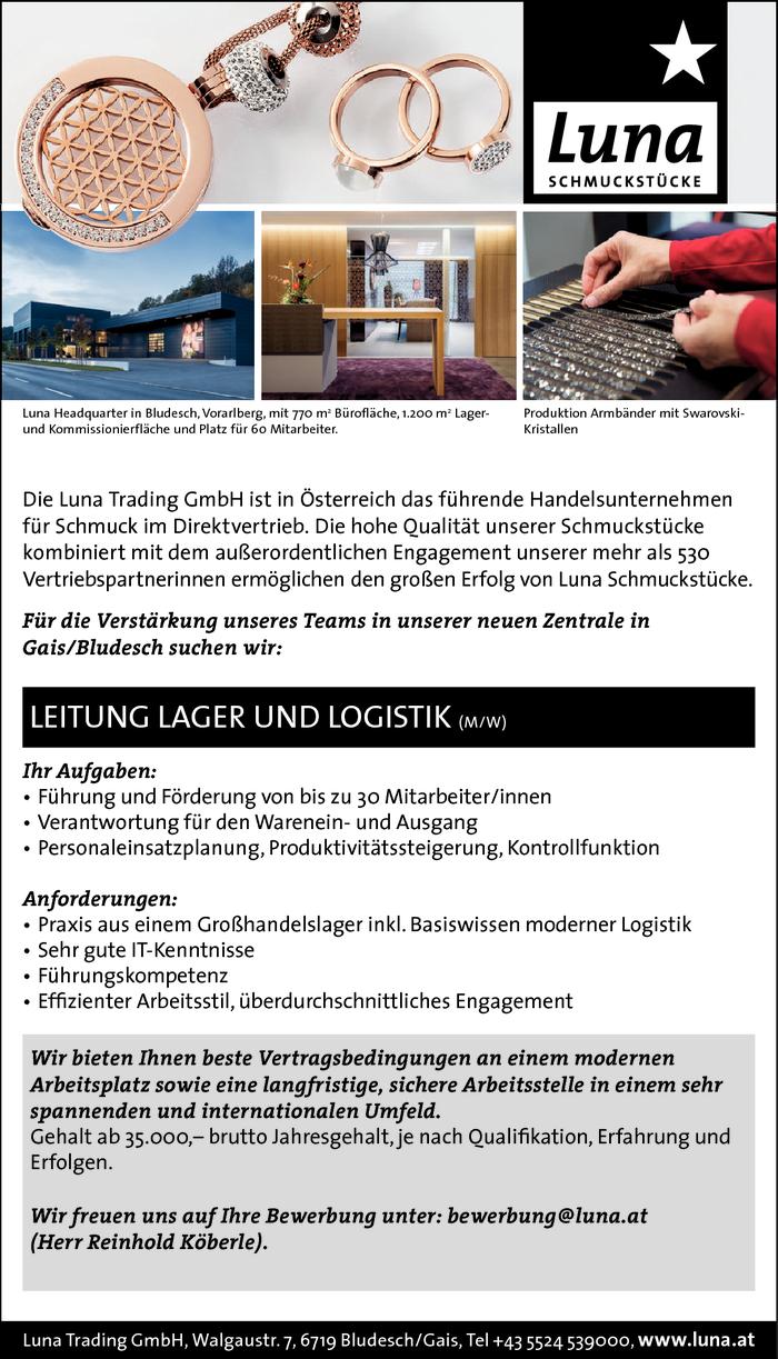 leitung lager und logistik bludesch gais jobs in vorarlberg. Black Bedroom Furniture Sets. Home Design Ideas