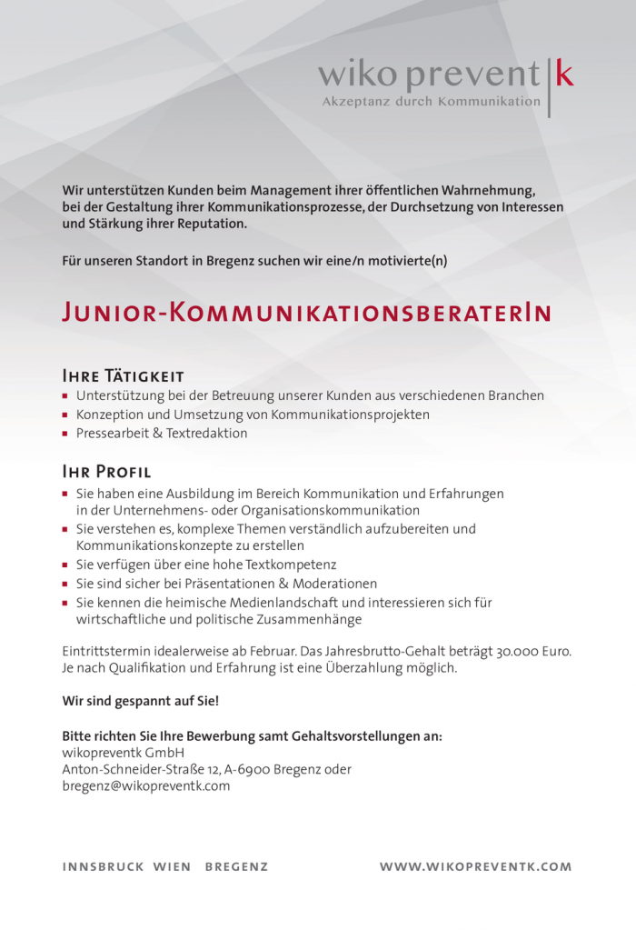 Junior-Kommunikationsberater/in