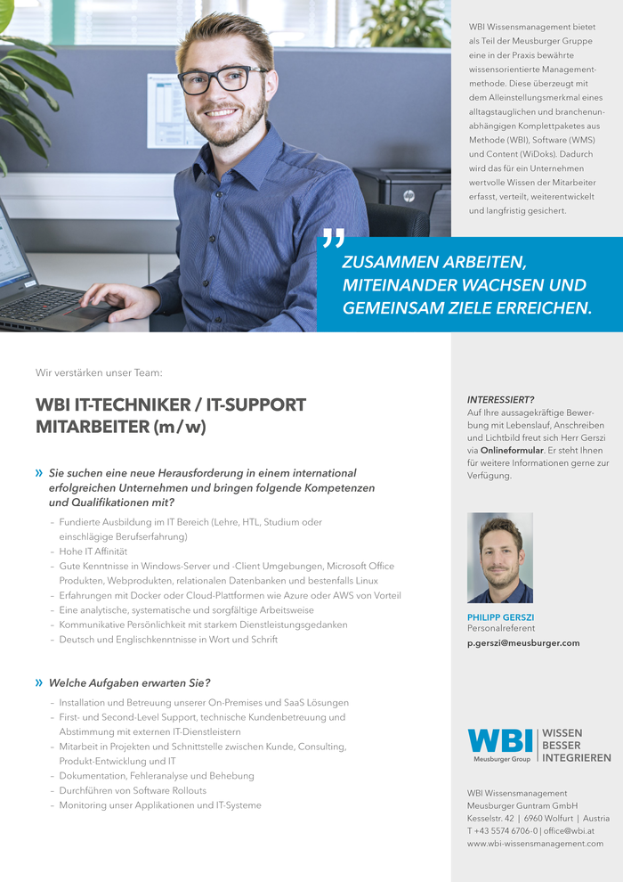 WBI IT-Techniker/IT-Support Mitarbeiter (m/w)