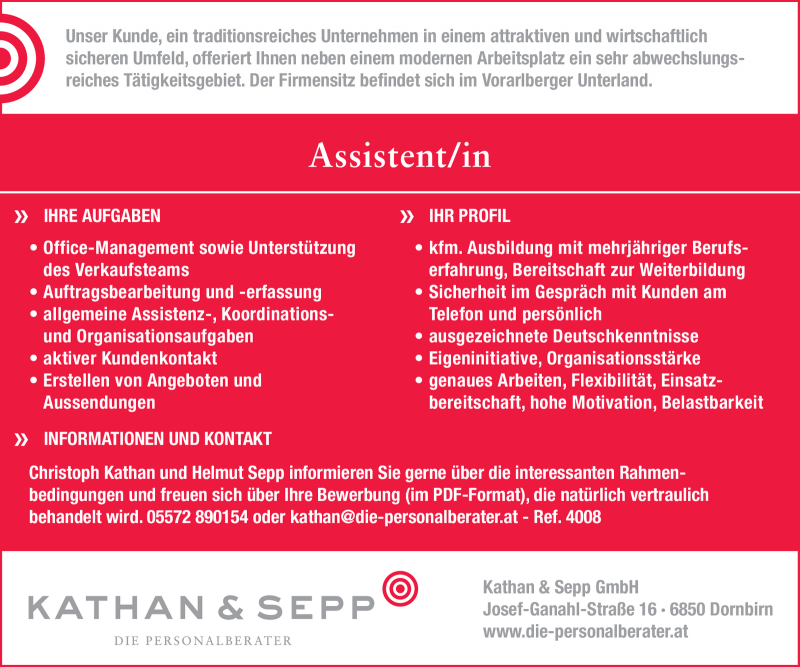 Assistent/in (m/w)