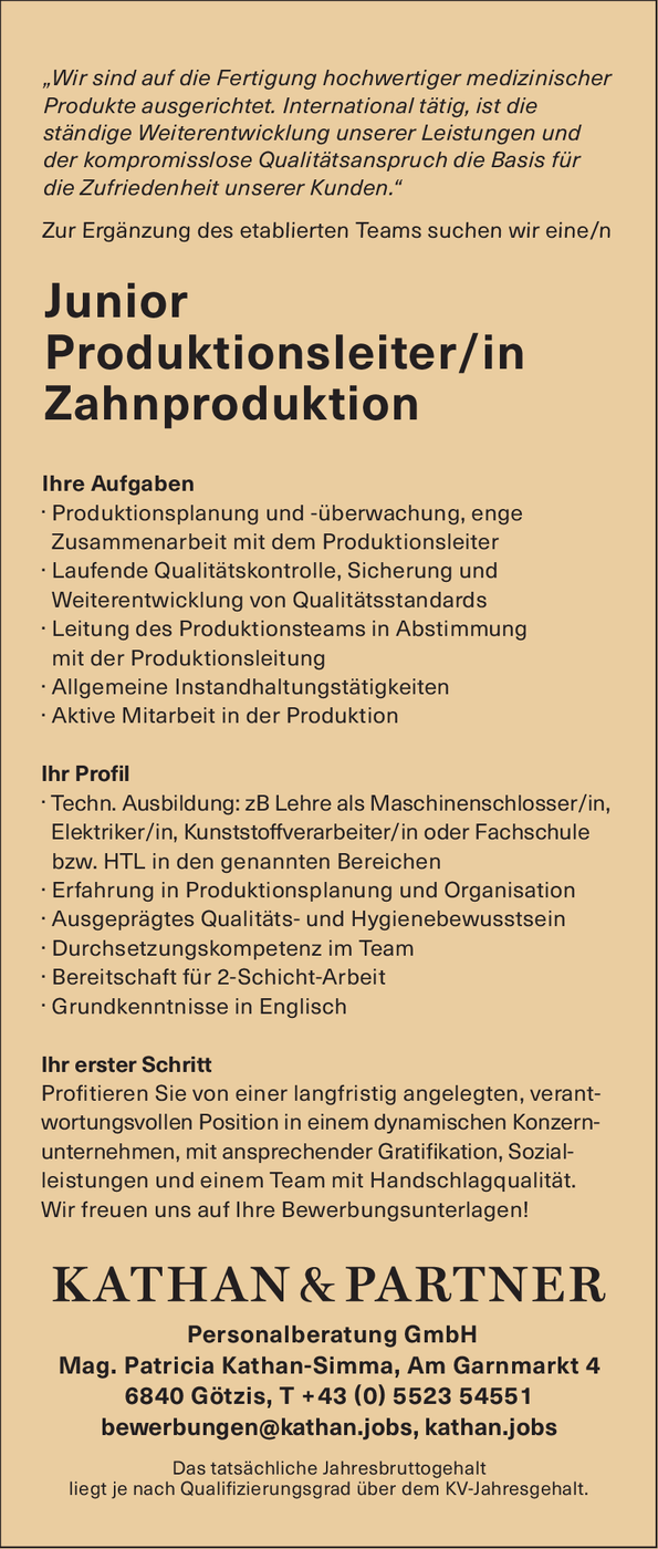 Junior Produktionsleiter/in Zahnproduktion