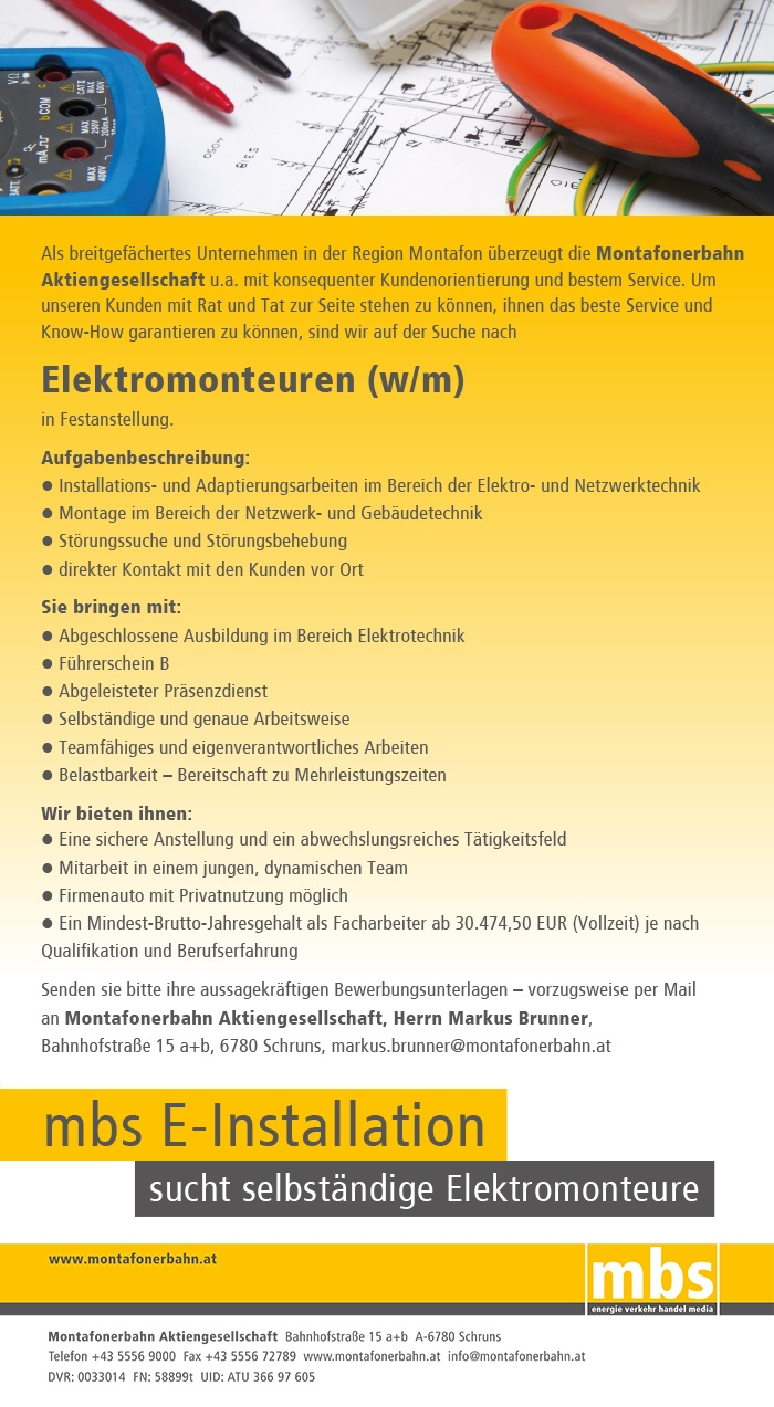 Elektromonteure (w/m) in Festanstellung