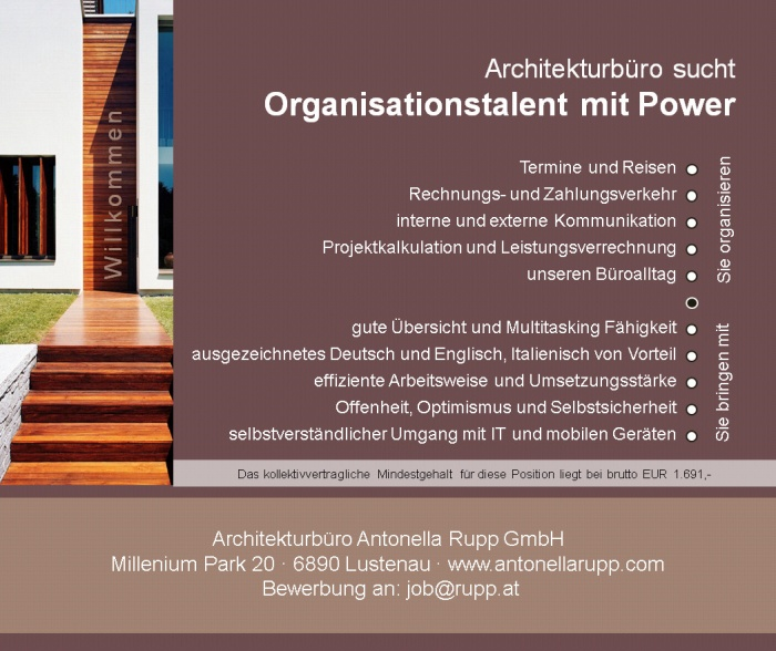 Organisationstalent mit Power im Architekturbüro (m/w)
