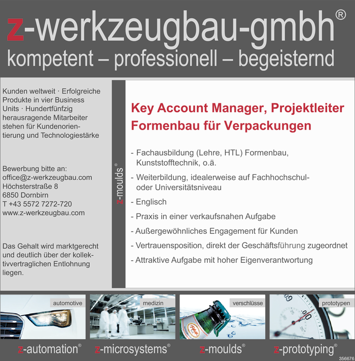 Key Account Manager/in / Projektleiter/in Formenbau