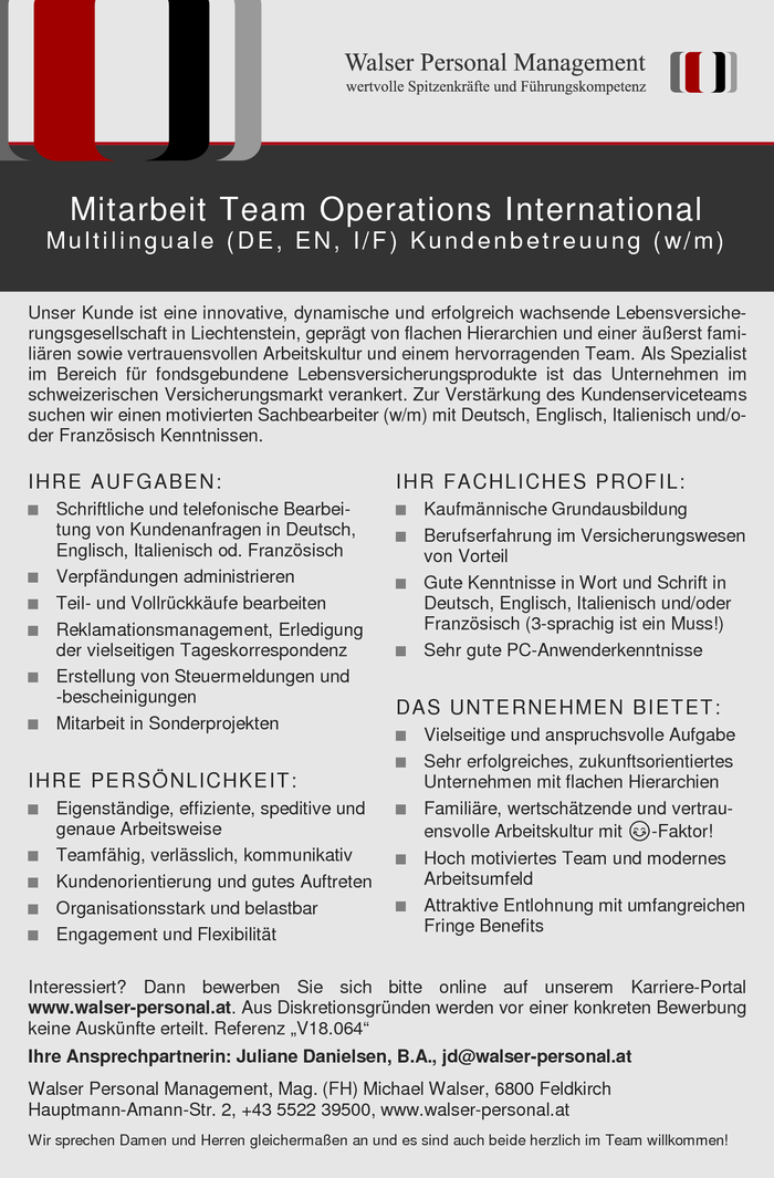 Mitarbeit Team Operations International (m/w)