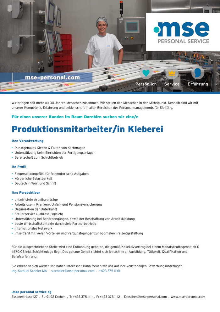 Produktionsmitarbeiter in kleberei vorarlberg jobs in for Koch gehalt netto
