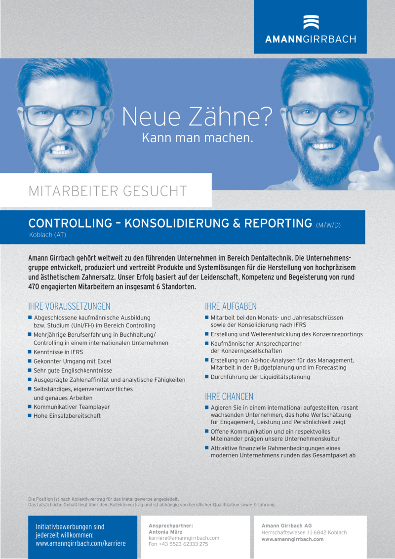CONTROLLING – KONSOLIDIERUNG & REPORTING (m/w/d)