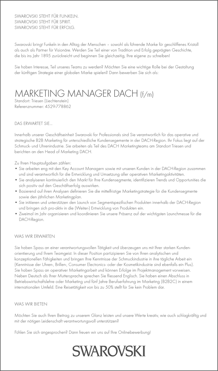 MARKETING MANAGER DACH (f/m)