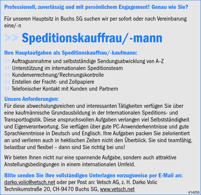 Speditionskauffrau/mann