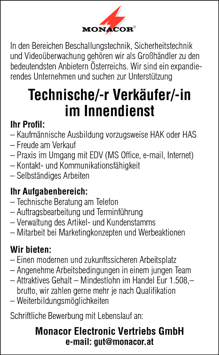 Techn. Verkäufer/in