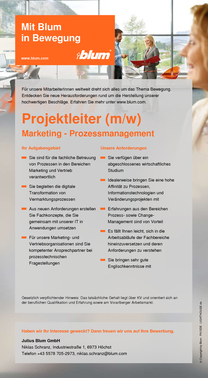 Projektleiter Marketing Prozessmanagement (m/w)