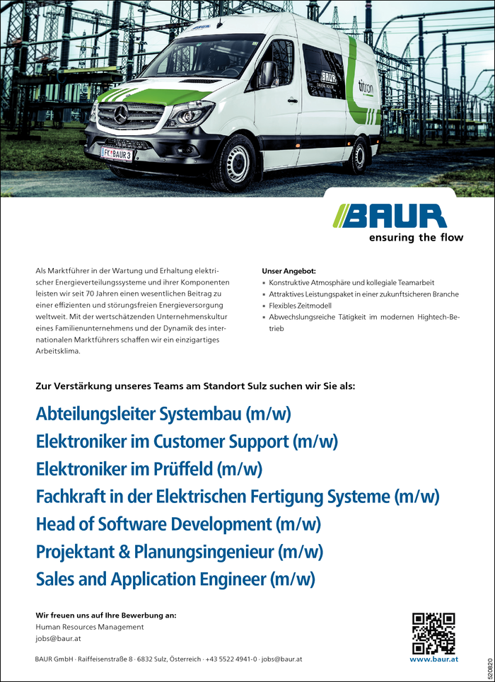 Abteilungsleiter/in Systembau, Elektroniker/in, Fachkraft Fertigung, Planungsingenieur/in, Sales and Application Engineer