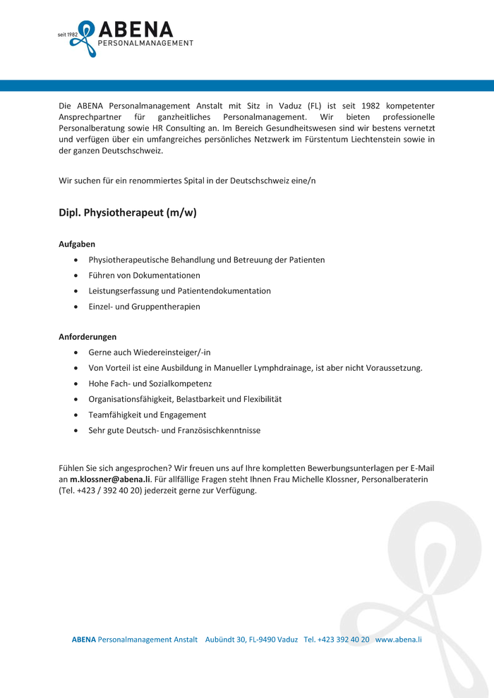 Dipl. Physiotherapeut (m/w)